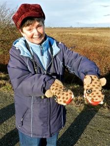 Lorna & birding mitts