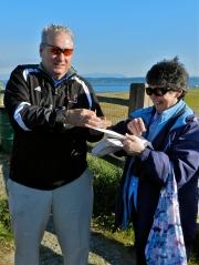 Lorna presents Tom with birthday PB sandwich