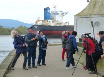Looking for nesting cormorants--Mike's still got the ship in sight